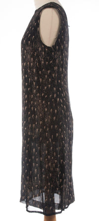 Max Mara 100% Silk Dress  Black with Abstract Pattern Size 12