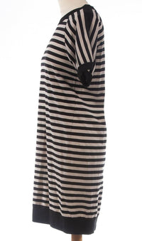 DKNY Black and Cream Striped Cotton Dress Size S (UK 8)