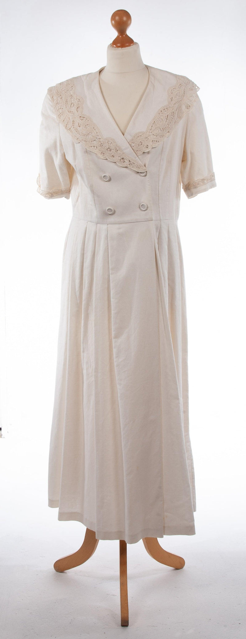 Laura Ashley Cream Linen and Cotton Summer Dress With Lace Collar UK 14