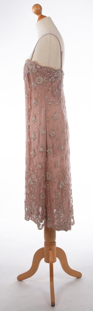 Phase Eight Embroidered Overlay Dress Dusky Pink UK 12