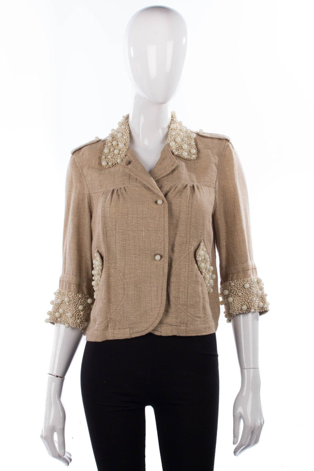 Blank London sparkly linen cropped jacket with fabulous pearl details size S