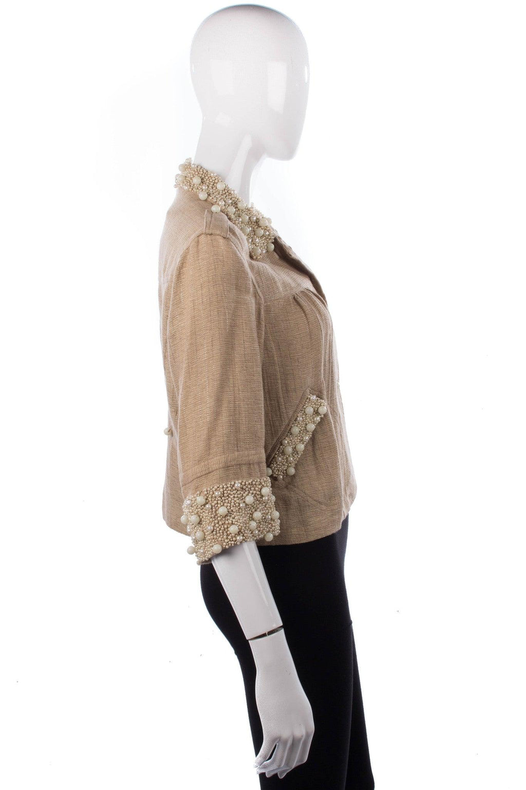 Blank London sparkly linen cropped jacket with fabulous pearl details size S side