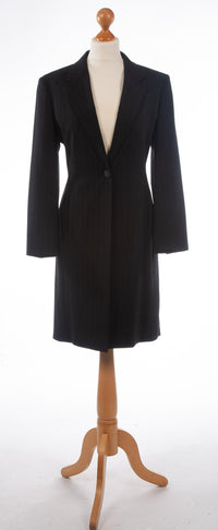 Max Mara 100% Wool Pinstripe Coat Black UK 10
