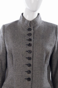 MARK houndstooth mandarin collar wool jacket detail