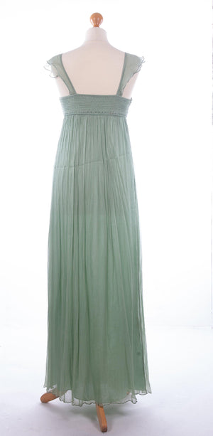 Blank London Silk Maxi Dress Pistachio with Embellishment Size S (UK 10)