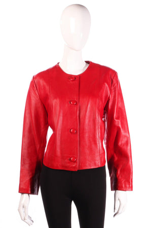 Red cropped leather jacket