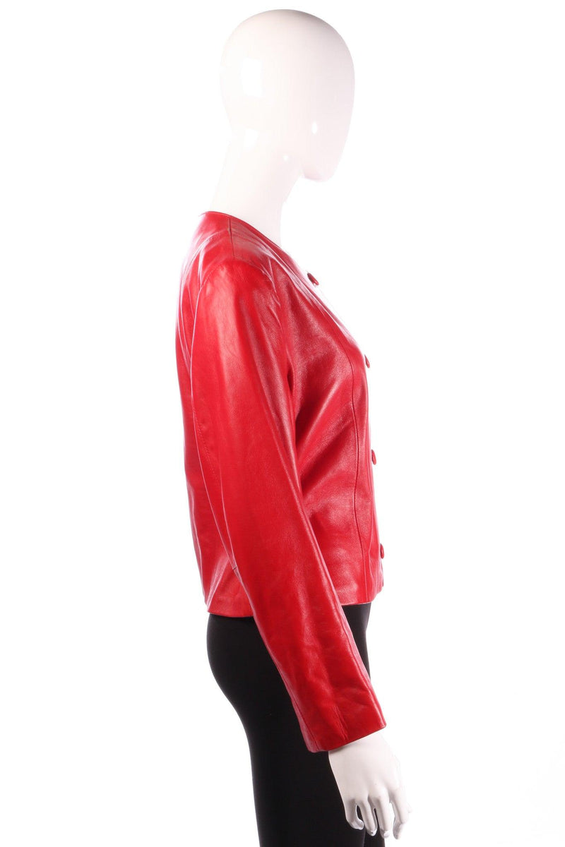 Red cropped leather jacket side