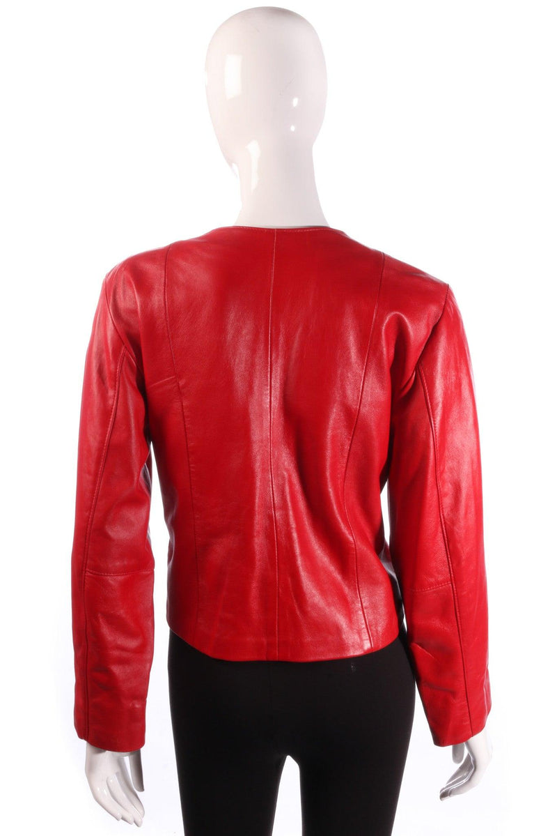Red cropped leather jacket back