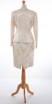 Scott McClintock Skirt Suit Ivory and Lace Scalloped Edge UK 12