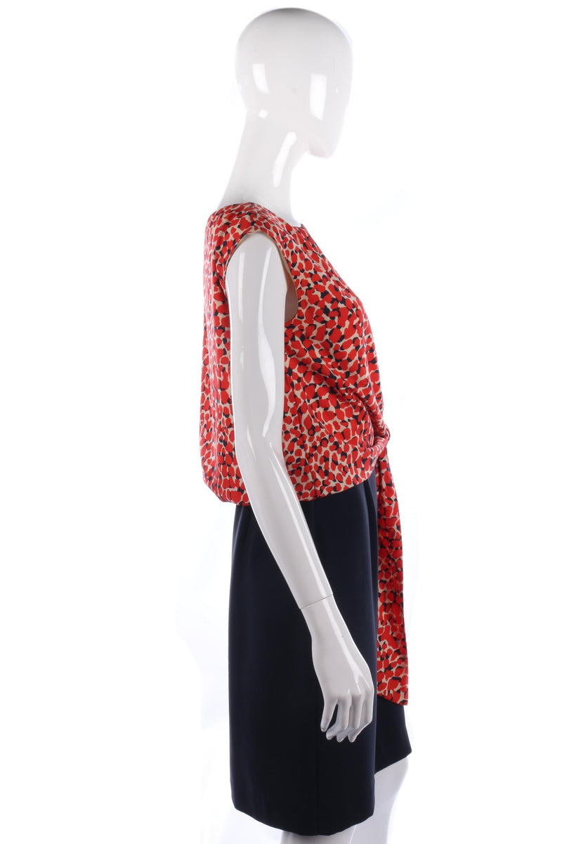 Fabulous Jaeger dress with red pattern top and blue skirt size 10