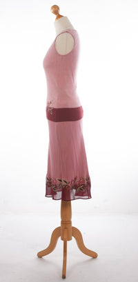 Maria Grachvogel Embellished Skirt with Wool Top Dusky Pink Size S BNWT
