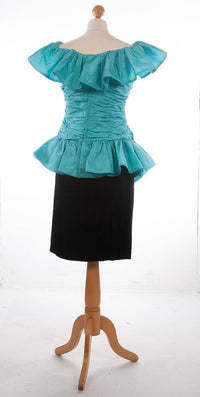 Louis Feraud Boutique Silk Cocktail Dress Turquoise and Black UK 12