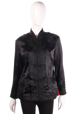 Reversible red and black silk Chinese jacket black