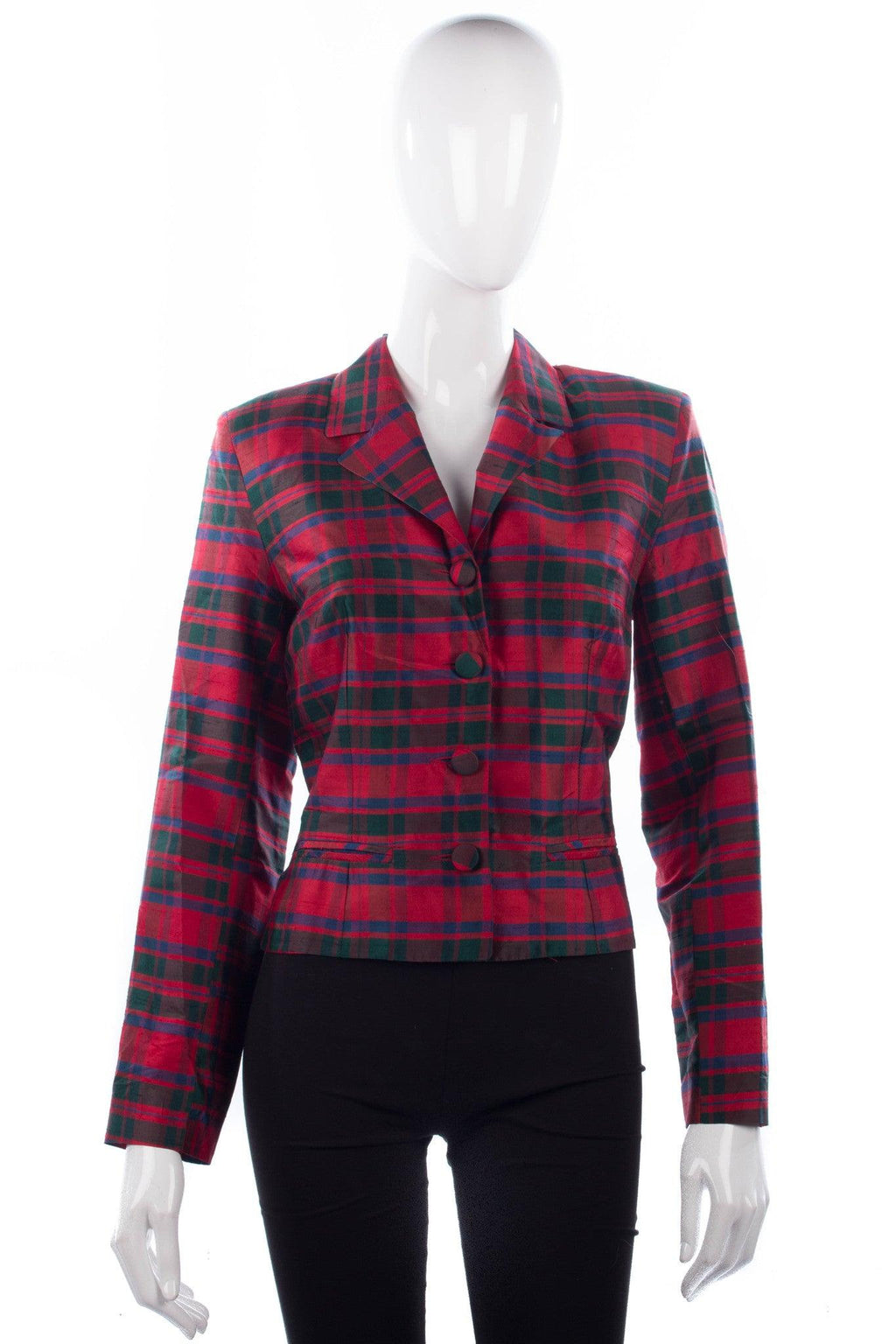 Monsoon Twilight tartan silk jacket size 12