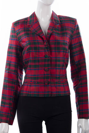 Monsoon Twilight tartan silk jacket size 12 detail