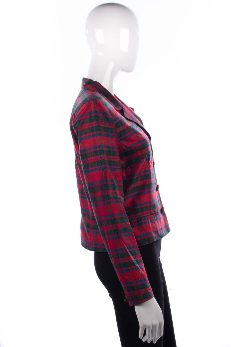 Monsoon Twilight tartan silk jacket size 12 side