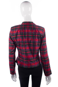 Monsoon Twilight tartan silk jacket size 12 back