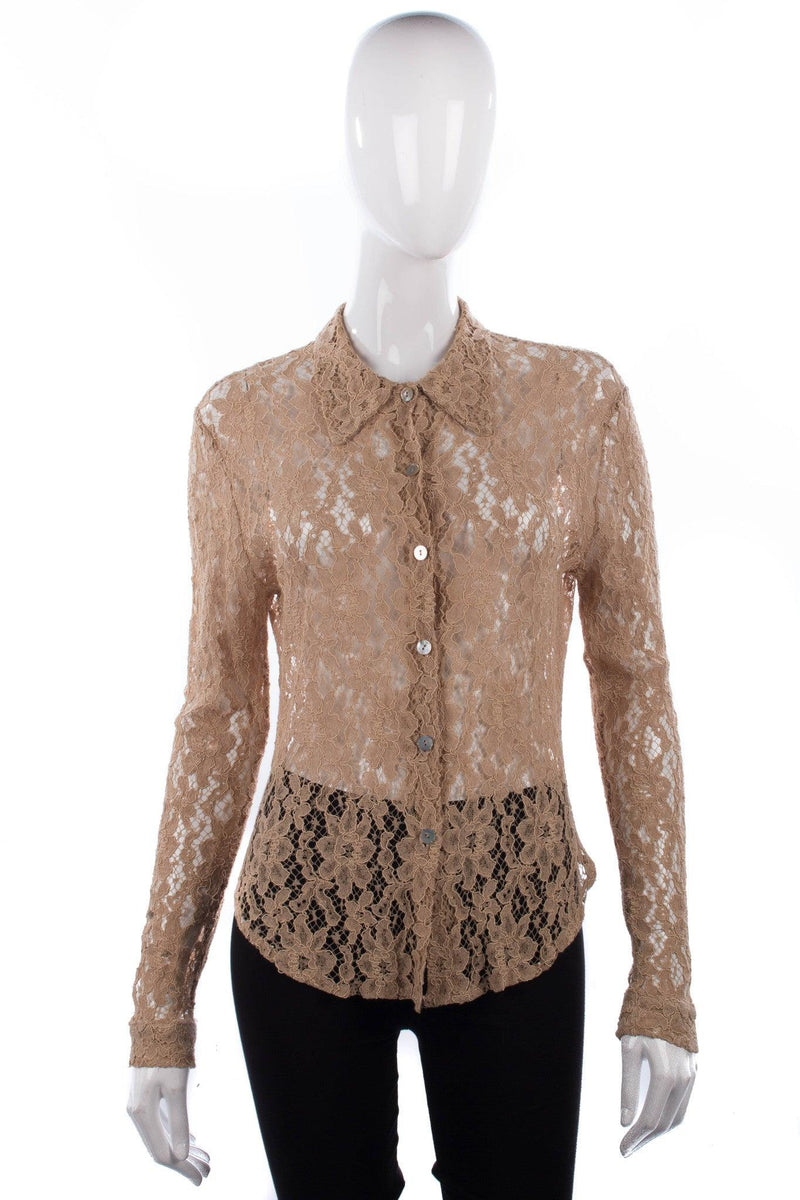 Charlotte Halton Contemporary Design Lace Shirt Cream Size 14