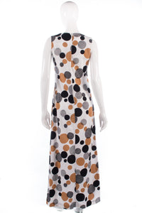 Long vintage 1970's spotted dress size 8/10 back