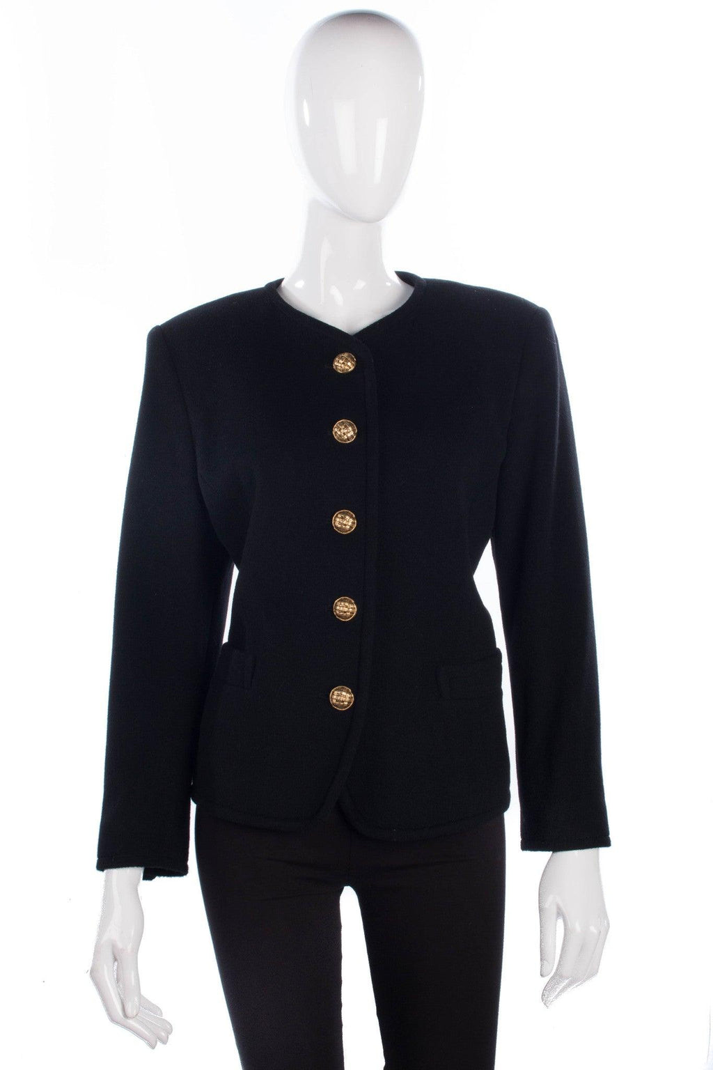 Lampert black wool and cashmere jacket with gold buttons size 12