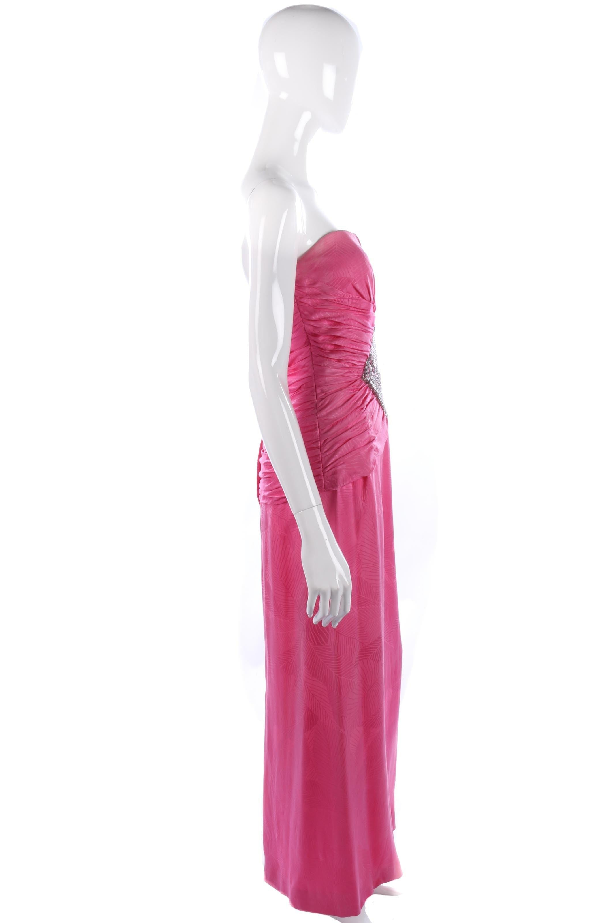 Robina stunning evening gown pink with beading size S – Ava & Iva