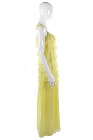 Long yellow silk ruffle dress yellow size 8/10