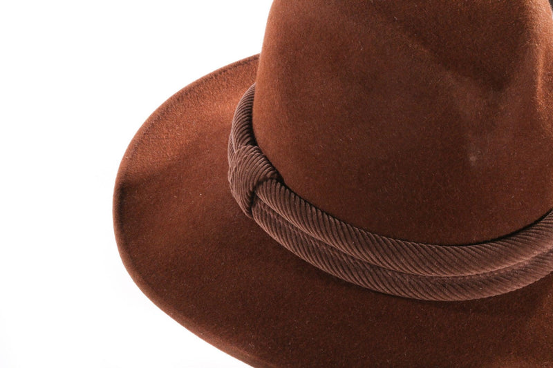 Brown suede hat with binding detail side