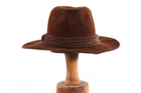 Brown suede hat with binding detail