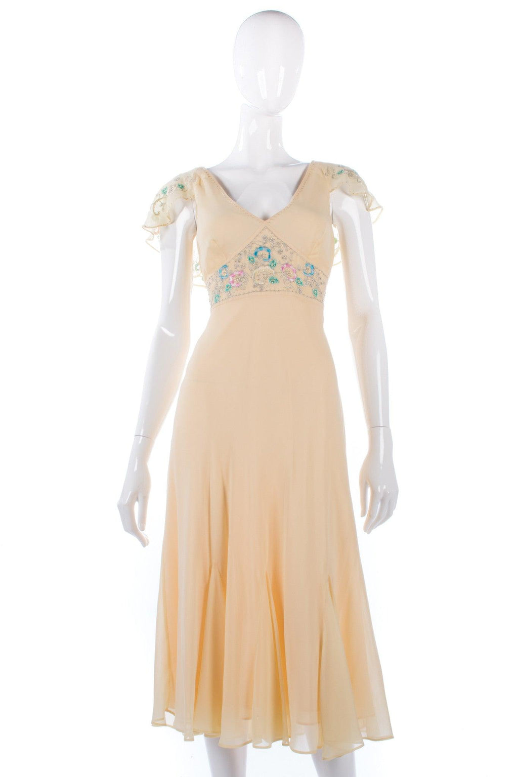 Beautiful lemon chiffon dress with beaded details, size 10/12