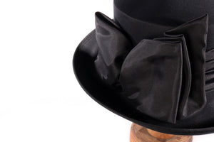 Whiteley black hat with bow detail  side