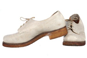 Lennards cream vintage leather white brogue shoes