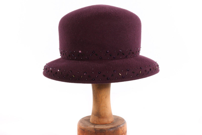 Belfour purple hat with beading
