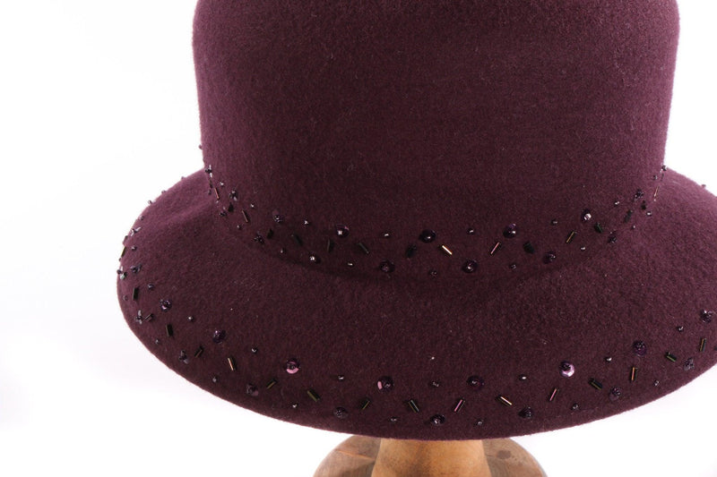 Belfour purple hat with beading side