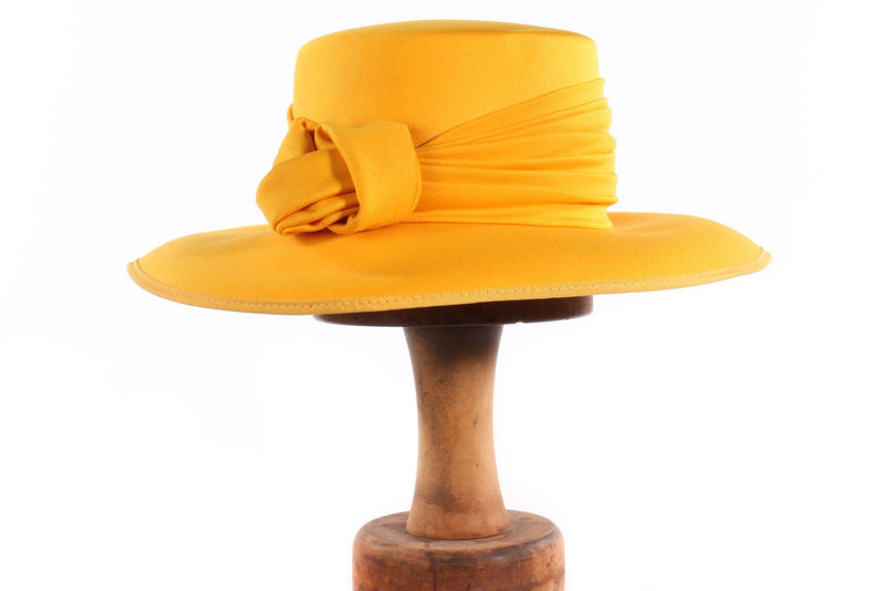 Kangol yellow hat with knot detail