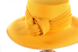 Kangol yellow hat with knot detail detail