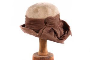 Brown and cream fur hat