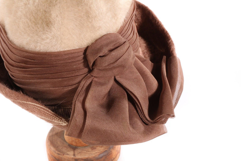 Brown and cream fur hat detail