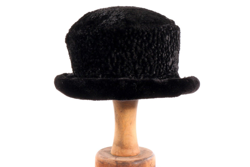 Black textured fur hat