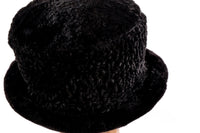 Black textured fur hat  side