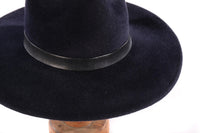 Dark blue fedora side