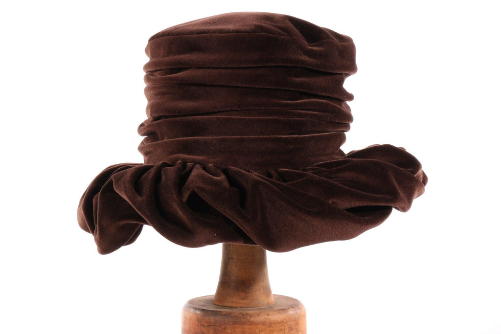Karen Davis london brown velvet hat