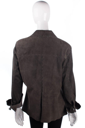 Verse Suede Jacket Olive Green with Stiching Detail est UK Size 14
