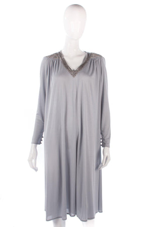 Grey vintage light jersey dress with beaded detail size M/L