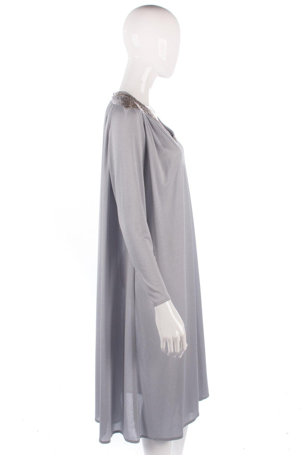 Grey vintage light jersey dress with beaded detail size M/L side