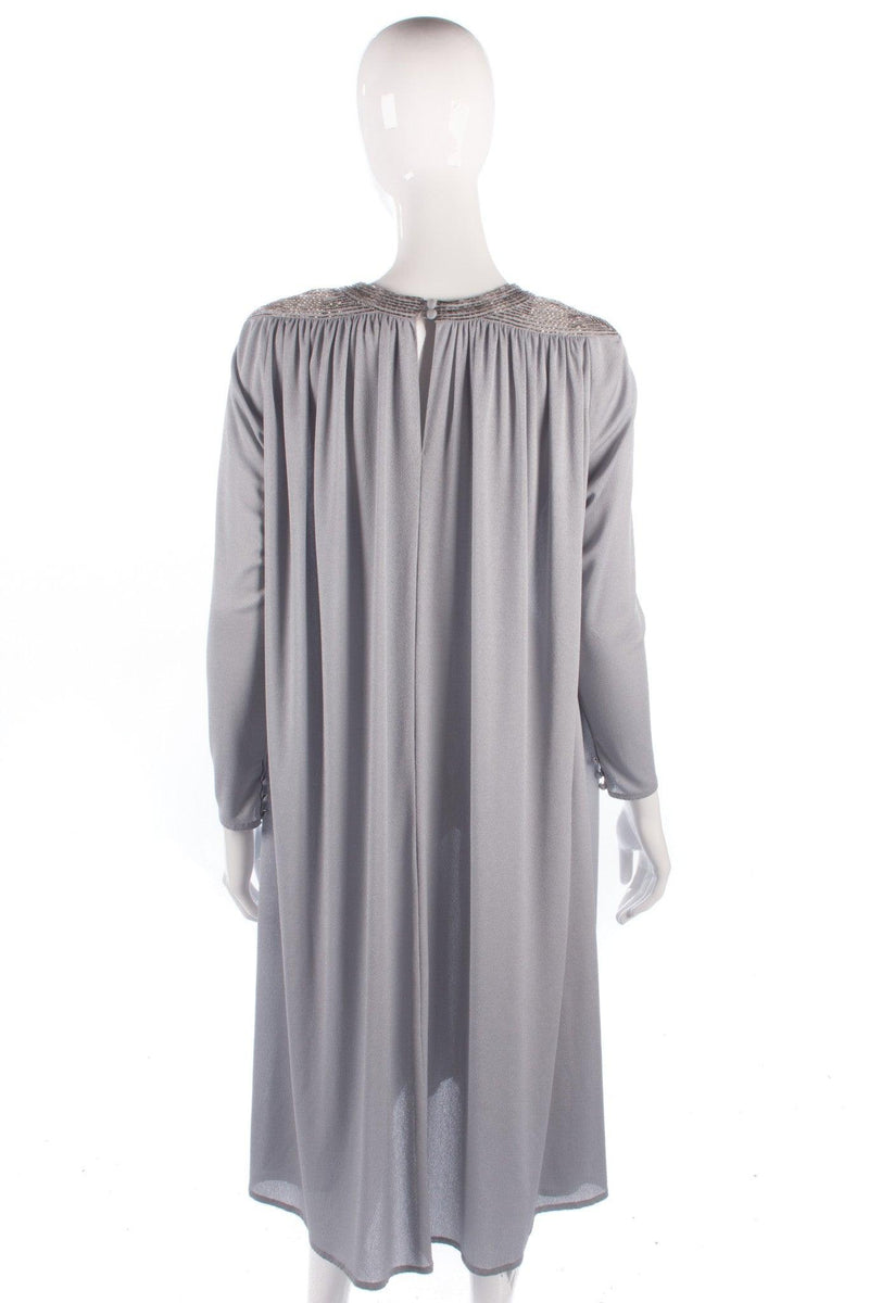 Grey vintage light jersey dress with beaded detail size M/L back