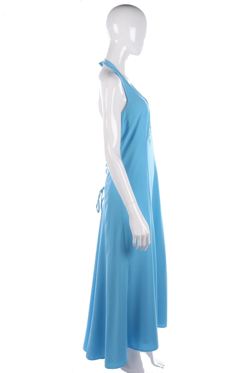 Baby blue halter neck evening dress size M