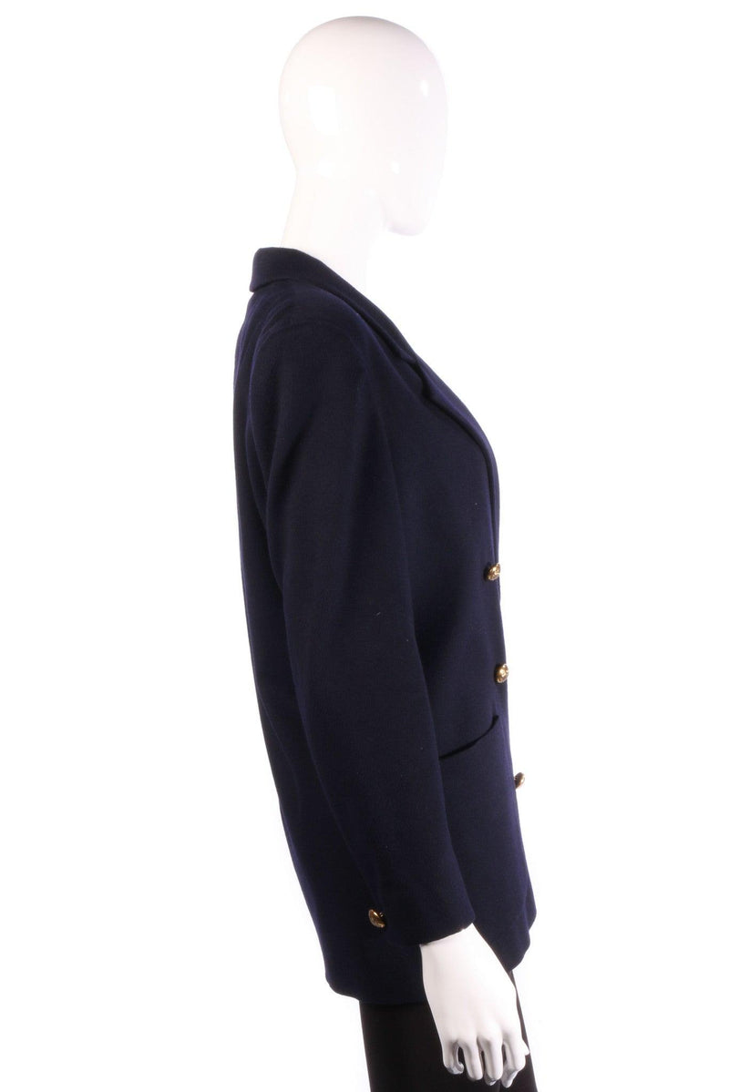 Jaeger Blazer Style Jacket Wool Navy with Gold Buttons UK