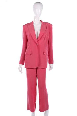 Silk pink suit, trousers and jacket size 12