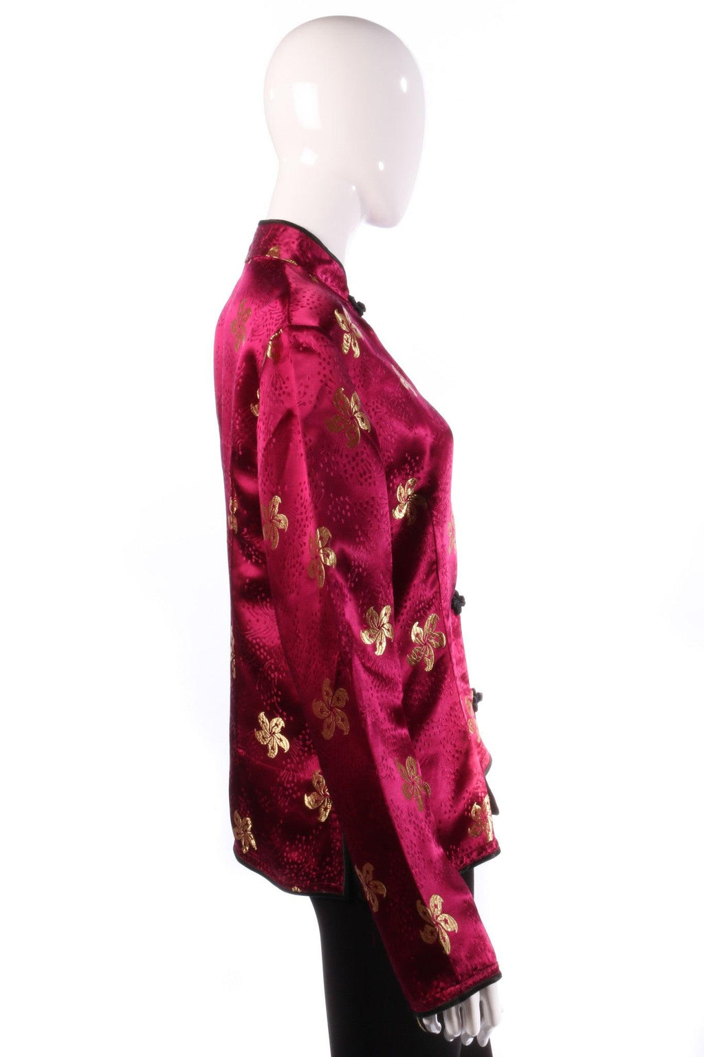 Chinese Silk Jacket Floral Design Magenta UK Size 16