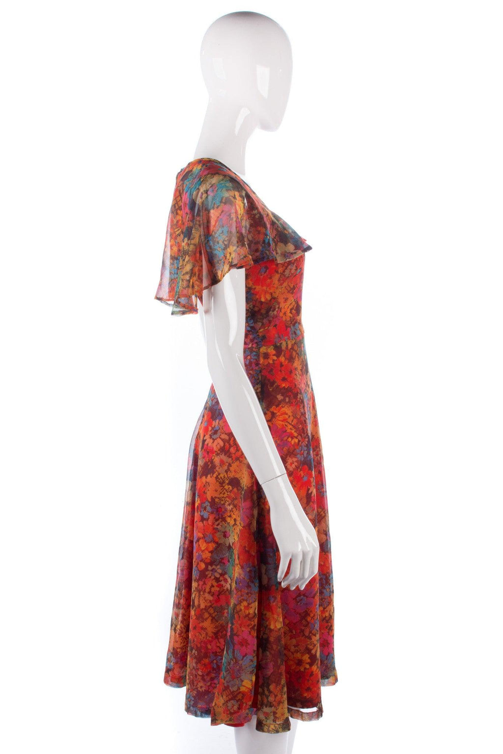 Lovely floral chiffon vintage dress probably a handmade garment